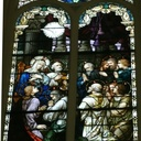 This window depicts the Holy Spirit descending upon the Apostles at Pentecost.